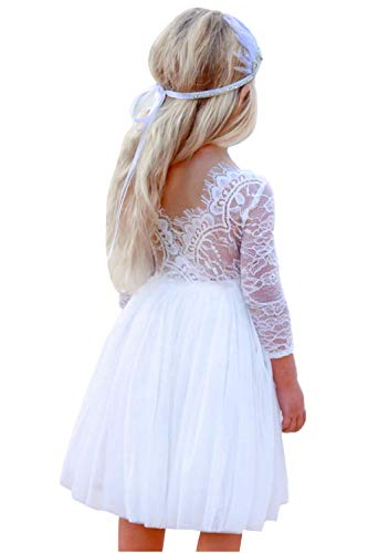 (2Bunnies Girl Rose Lace Back A-Line Straight Tutu Tulle Party Flower Girl Dresses (White Long Sleeve Knee,)
