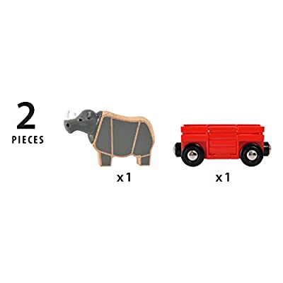 Brio 33968 World-Safari Rhino & Wagon,: Toys & Games