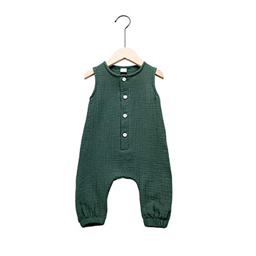 (Haokaini - Baby Girls Boys Sleeveless Linen Jumpsuit, Casual Buttons Romper, Playsuit for Infant Toddler (Green,)