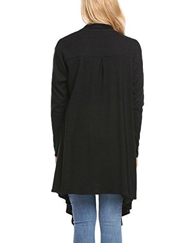 Zeagoo Black Femme Gilet Pocket Style r5CrIq