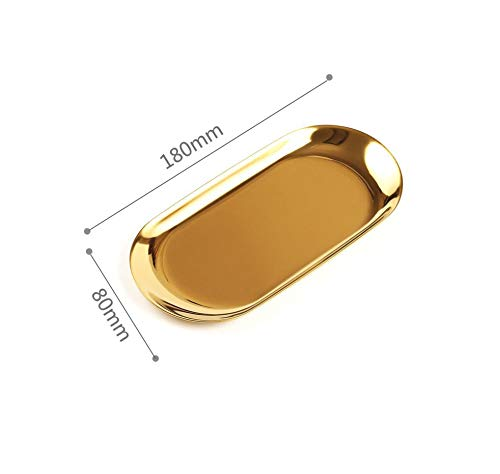 Nordic Rose Gold Metal Storage Tray Luxurious Brass Gold Silver Oval Plate Iron Fruit Plate Tray Home Decor,D. Gold Small