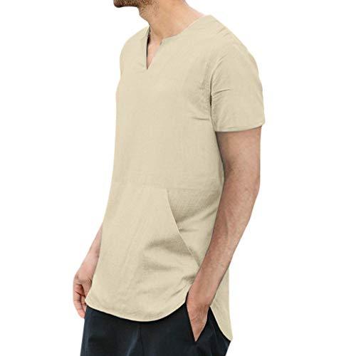 YKARITIANNA 2019 New Fashion Men's Baggy Cotton Linen Solid Color Pocket Short Sleeve T Shirts Tops Blouses ()