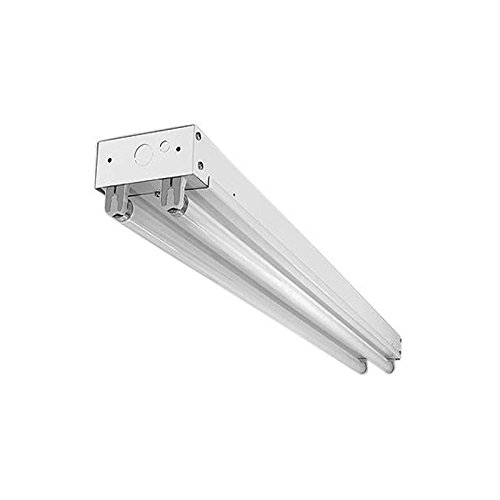 Commercial Strip Fluorescent Light   White   36''L x 4.25''W x 2''H   2x25W T8 Lamps Included   Multivolt   Perfect For Interior Warehouse, Retail, Utility Areas   UL Listed