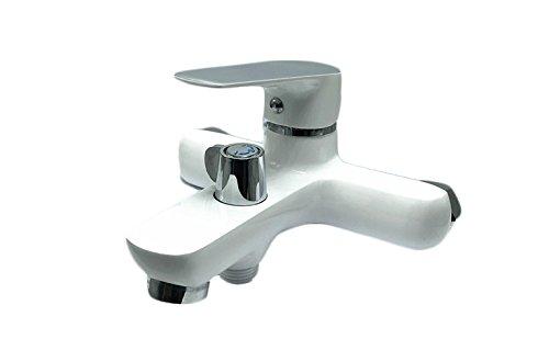 takestop Robinet mitigeur Blanc Londres 52803 pour baignoire salle de bain monocommande monotrou Robinetterie MOON