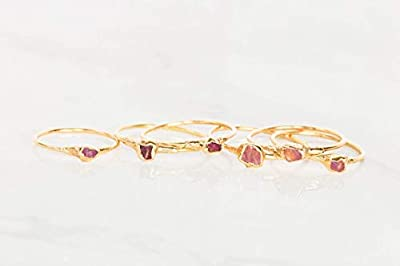Raw Ruby Ring, Yellow Gold, Size 7, July Birthstone, Dainty Boho Style Jewelry