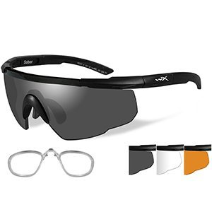 Wiley X Saber Advanced Sunglasses - Smoke Grey/Clear/Rust - Lens - Matte Black Frame W/RX Insert (Best Rx Shooting Glasses)