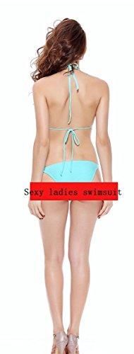 Ailin home- Bikini de dos piezas de mujer conjunto traje de baño de cuello halter bajo cintura Azul