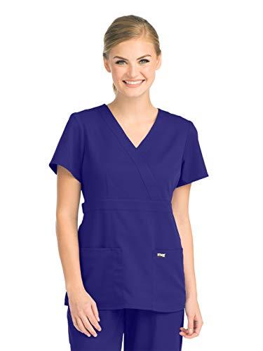- Grey's Anatomy 4153 Women's Mock Wrap Top Purple Rain M