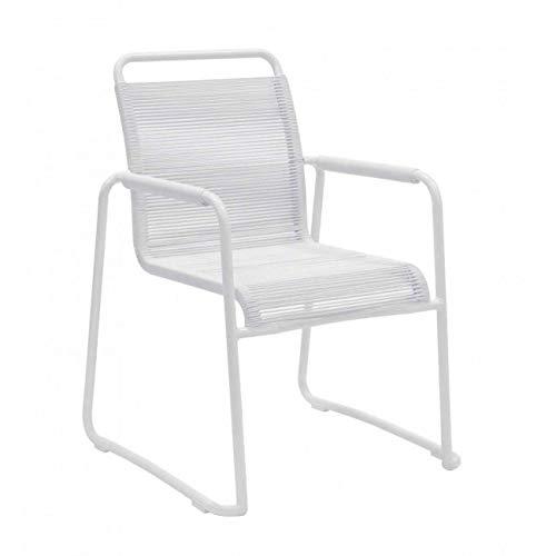 InHouse srls Poltrona da Giardino con Struttura in Alluminio, Colore Bianco, 66 x 64 x 88H