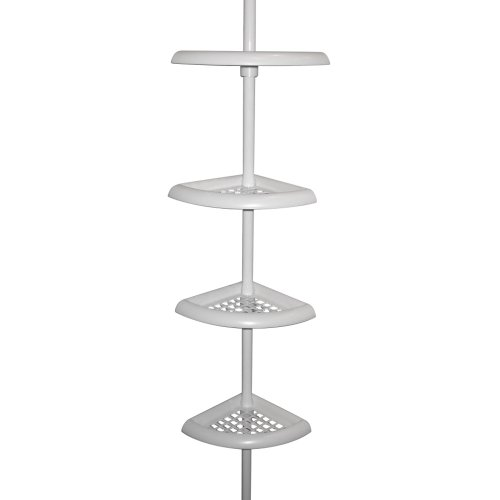 Zenna Home 2104W Bathtub and Shower Tension Corner Caddy, 10.5 x 97-Inches, White