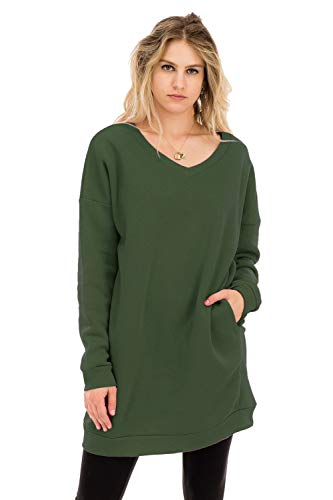 NANAVA Casual Loose Fit Long Sleeves Over-Sized V-Neck Sweatshirts Army Green L/XL
