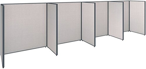 BSHPPC008LG - Bush Industries ProPanels 240W x 36D x 66H 4 Person Open Cubicle Configuration in Light Grey