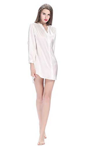 Seta Notte LilySilk 22 Elegante Pura Da Da Corta Camicia Donna Bianco Di Momme ffOvwqHEcF