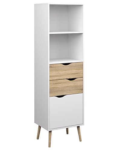Tvilum 7538249ak Diana Bookcase with 2 Drawer and 1 Door White Oak