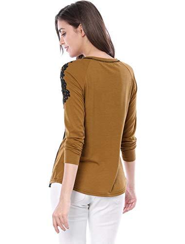 Elgante Haute Couleurs Brode Printemps T Shirt Fleur Manches T Longues Femme Basic Braun Shirts Mlanges Vetement De Fit Slim Qualit Rond Shirt Mode Confortable Col Haut qxFxtaYz
