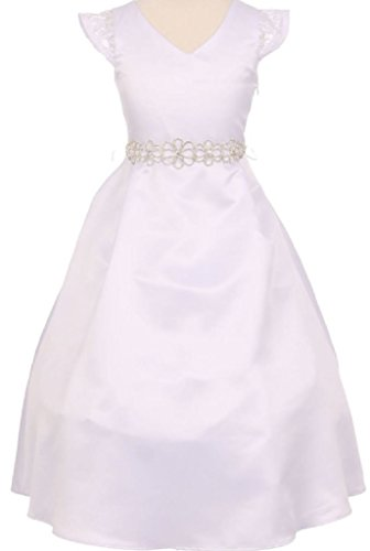 Big Girls' Lace Pearl Floral Rhinestone Belt Flowers Girls Dresses White Size 16 ()