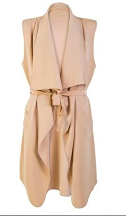 NEW WOMENS NUDE BELTED SLEEVELESS WRAP OVER WATERFALL CARDIGAN ...