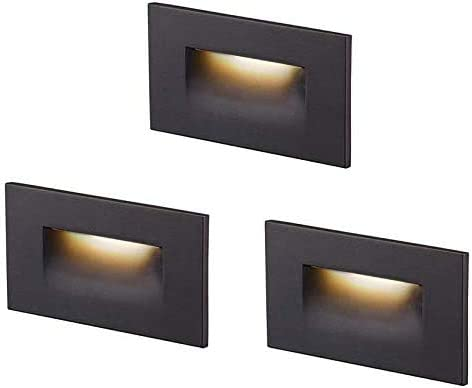 Cloudy Bay 12V Low Voltage LED Step Light,3000K Warm White,Stair Light,Oil Rubbed Bronze,Pack of 3
