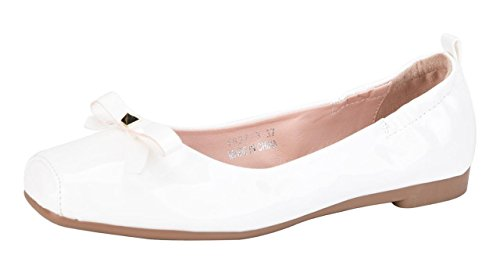 CAMSSOO Women's Cute Square Toe Bow Flats Ladies Patent PU Loafer Shoes White Patent PU Size US7.5 (White Patent Shoes)