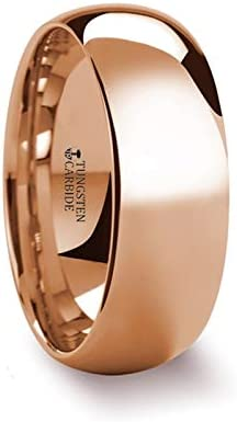 SOL Traditional Domed Rose Gold Ring Plated Tungsten Carbide Wedding Band- 4mm - 8mm