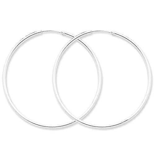 Designs by Nathan, Endless 925 Sterling Silver Seamless Tube Hoop Earrings, 15 Styles and Sizes (Regular 2mm x 55mm)