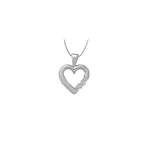 April birthstone Diamond Heart Pendant in 14K White Gold 0.06 CT TDW