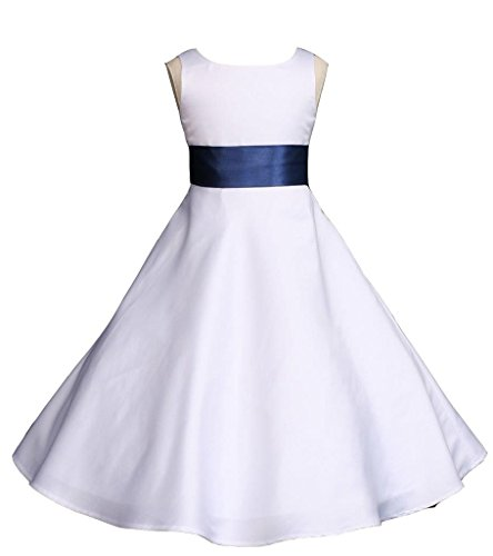 - Wedding Pageant White A-Line Matte Satin Jr. Bridesmaid Flower Girl Dress