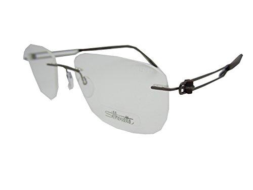 Silhouette 5361 Mens Rectangular Rimless Titanium Eyeglasses/Eyeglass Frame (54-19-140, Gray / Cobalt / Black)