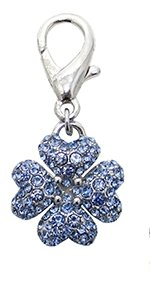 Blue 4 Leaf Clover Dangler Dog Collar Charm for Dogs and Cats