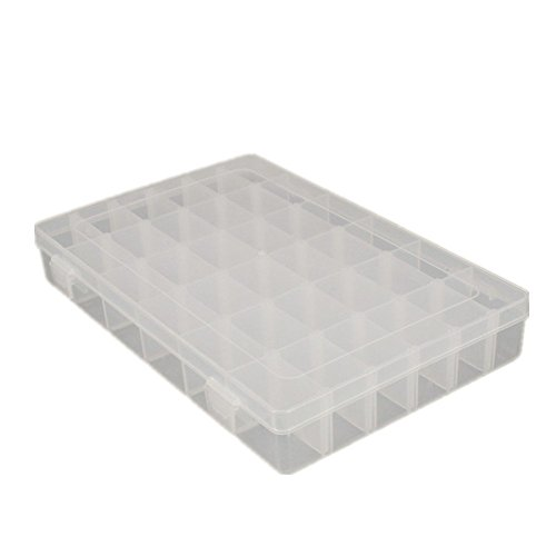 SpeedDa Clear Plastic Jewelry Box Organizer Storage Container with Adjustable Dividers 36 Grids
