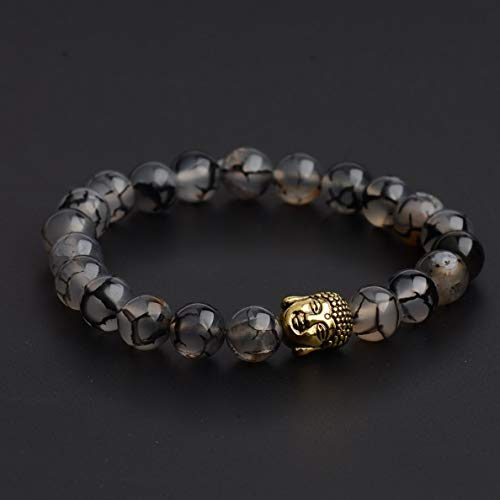 Hebel 2017 Fashion Men Spot Natural Lava Stone Gold Buddha Beaded Charm Women Bracelet | Model BRCLT - 30158 | ()