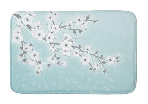 compass her Bathroom Rug Mat (24X16 Inch),Extra Soft and Absorbent Rugs, Machine Wash/Dry,Floor Mats for Tub, Shower and Bath Room Mint White Cherry Blossom Bath mat