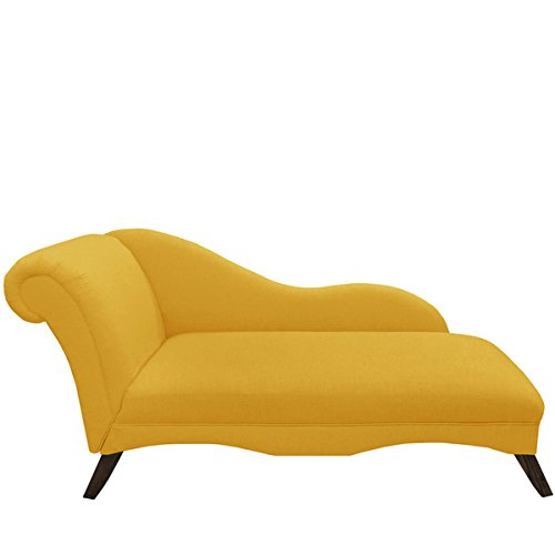 [Skyline Furniture French Yellow Linen Chaise Lounge, Made with solid pine, polyurethane foam and polyester fill] (Skyline Furniture Leather Tufted Bed)