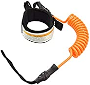 Coiled Leash for Paddle Board Surfboard SUP Leash Leg Rope with Adjustable Thigh Ankle Cuff and Quick Pull Rin