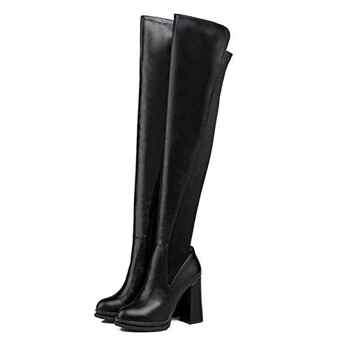 AgooLar Damen Blend-Materialien Hoher Absatz Gemischte Farbe Hoch-Spitze Ziehen auf Stiefel Schwarz