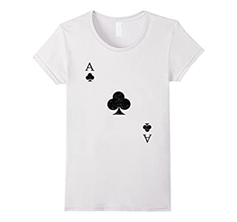 Womens Ace of Clubs Tshirt Costume - Be Part of a Poker Hand! Medium White - Club Ladies Tee