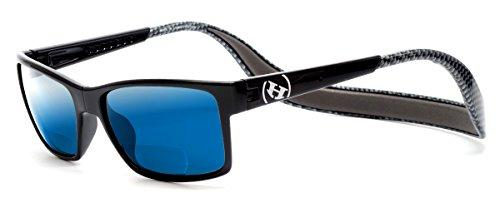 Hoven Eyewear MONIX Polarized Bi-Focal Reading Sunglasses manufactured under license if Clic Magnetic Glasses in Black & Grey Carbon Fiber w/ Blue Mirror Lens - Hoven Eyewear