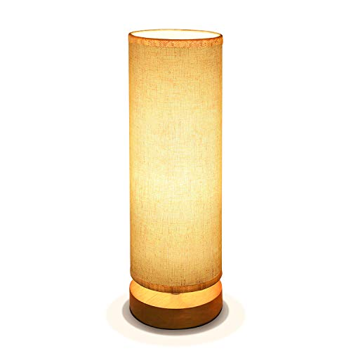 (Bedside Table Lamp, Aooshine Minimalist Solid Wood Table Lamp Bedside Desk Lamp, Round Simple Desk Lamp, Nightstand Lamp with Adjustable Fabric Shade)
