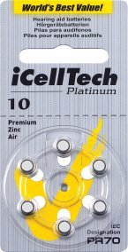 iCelltech Size 10 Hearing Aid Batteries (6 Batteries)
