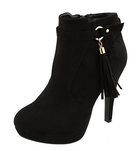 TOP Moda Women's Closed Almond Toe Tassel Platform Stiletto Heel Ankle Bootie (6 B(M) US, Black) ()