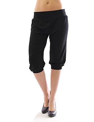 Harem Harems Aladin Pantalon POMPE CAPRI 3/4 haute couleur Leggings Baggy été - Noir, S