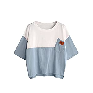 SweatyRocks Women's Color Block Half Sleeve High Low Casual Loose T-Shirt Tops