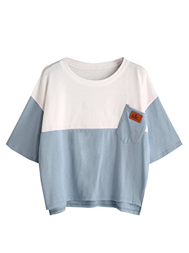 Drop Sleeve T-shirt (SweatyRocks Women's Color Block Half Sleeve High Low Casual Loose T-shirt Tops (M, Blue_White))