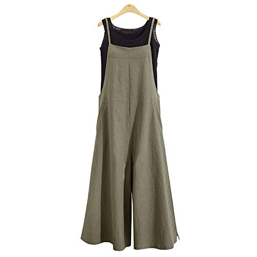 (TEARMER Women Jumpsuits Linen Overalls Romper - Casual Long Loose Sling Onepiece Bib Pants(M, Army Green) )