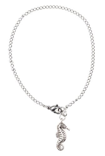 """[6.5"""" - 8.5"""" 316 Stainless Steel Seahorse Bracelet, 2mm Curb Chain. Packaged in an Organza Bag and Placed in a Pillow Gift] (Scuba Costume Child)"""
