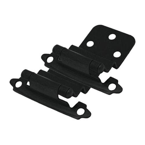 Cosmas 17128-FB Flat Black Cabinet Hinge 3/8'' Inset [17128-FB] - 25 Pair Pack by Cosmas