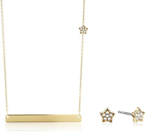 Fossil Women's Star Gold-Tone Stainless Steel Studs and Necklace Box Set, Gold, One Size