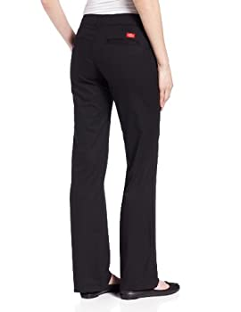 Dickies Women's Relaxed Fit Straight Leg Twill Pant, Black, 14 Long 1