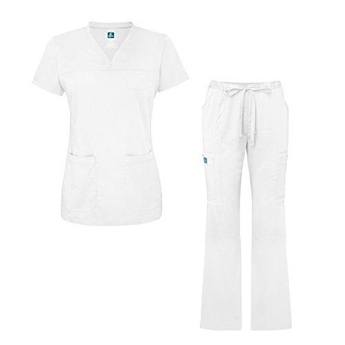 Adar Indulgence Jr. Fit Womens Scrub Set Curved V-Neck Medical Scrub Top and Scrub Pants - 4401 - White - M by ADAR UNIFORMS