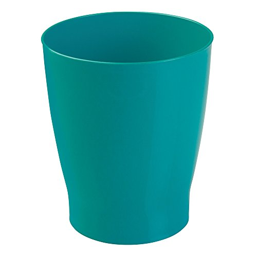 Wastebaskets Kids (mDesign Slim Round Plastic Small Trash Can Wastebasket, Garbage Container Bin for Bathrooms, Powder Rooms, Kitchens, Home Offices, Kids Rooms - Teal Blue)
